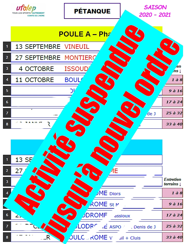 UFOLEP   Indre :   CALENDRIER 2020 2021